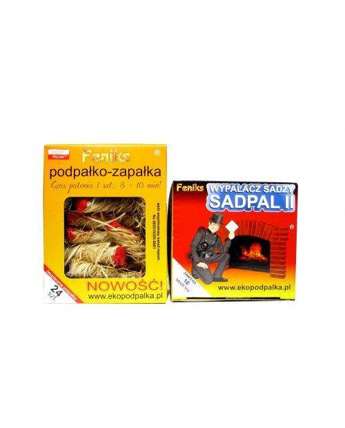 Podpałko - zapałka 24szt. + Wypalacz sadzy Sadpal II 10x50G