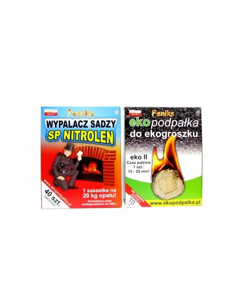 Zestaw Ekopodpałka do ekogroszku 10 szt. + Wypalacz sadzy SP Nitrolen 40 saszetek